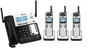 Atandt Sb67138 4 Line Corded Cordless Intercom Paging Phone System With 3 Handsets