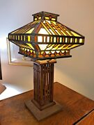 Antique Lead Glass Lamp With Wooden Base Era 1920and039s 25 Tall