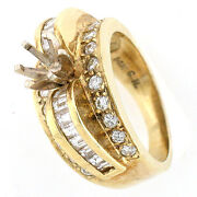 Solid 14k Yellow Gold Semi Mount Diamond Ring Setting 1.93 Twc - Round For 1ct