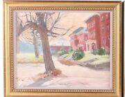 And03980s Mid Century Mod Impressionistic Oil Painting Row Houses Old Louisville Ky