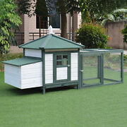 77and039and039 Chicken Coop Wooden House Small Animal Cage Habitat Backyard W/ Run