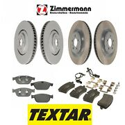 New For Audi A8 Quattro Vented Zimmermann Disc Brake Rotors And Textar Pads Kit