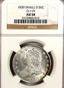 1830 50c Small 0 Au58 Ngc-very Pretty-capped Bust Half Dollar-looks Way Maore