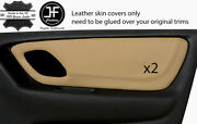 Beige Real Leather 2x Front Door Card Trim Covers Fits Ford Escape 2001-2007