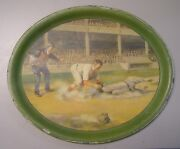 Rare 1910and039s Baseball Scene Oval Tray Play At The Plate.