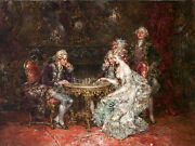 Large Oil Painting Palace Portraits Count Noblewomen Playing Chess Free Shipping