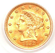 1852 2.50 Ms63 Pcgs-rare In This Grade-only 61 In Higher Grade 2.5 Gold