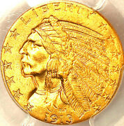 1913 5 Ms63 Pcgs/pq And Cac-only 721 In Higher Grade-mintage 915,901-indian