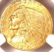 1914-d 2.50 Ms63 Pcgs-only 928 Finer-indian Head