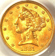 1881 5 Ms63 Pcgs- Only 416 In Higher Grade -liberty Head