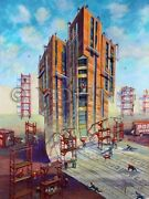 Painting Architect Hard Hat Shovel Scaffolding Windows Tower Michael Young Art