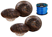 4x Pyle Marine 6.5and039and039 Round Waterproof Camo Speakers 16-g 50 Foot Tinned Wire