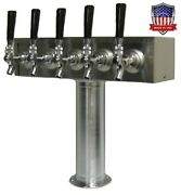 Stainless Steel Draft Beer Tower Made In Usa - 5 Faucets - Glycol Ready -tt5crg