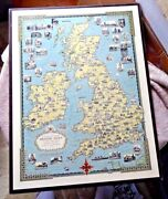 Rare Lovely Pictorial Map British Isles Ireland England By E Dudley Chase C1940