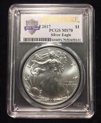 2017 1oz Silver Eagle Pcgs Ms70 - First Strike - Us Mint 225 Years Label