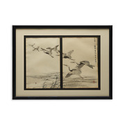 Japanese Woodblock Print Of Crane In Flight Over Water By Baizei 19th C.