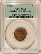 1917 Doubled Die Obverse 1c Pcgs Au-58 Major Lincoln Cent Variety