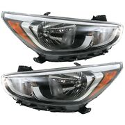 Headlight Set For 2015-2017 Hyundai Accent Left And Right With Bulb Capa 2pc