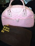 Exclusive Limited Edition Pink Goyard Jeanne Medium Preowned Bag Leather/ Canvas