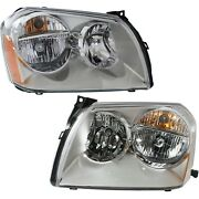 Headlights Headlamps W/ Chrome Housing Left And Right Pair Set For 05-07 Magnum