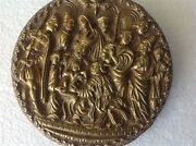Antique Judaica French Plaque Bronze Bible Judgment Solomon Plate 19th Tray M525