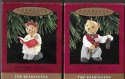 2 Hallmark Bearingers Bear Ornaments Papa And Bearnadette Mint In Boxes 1993