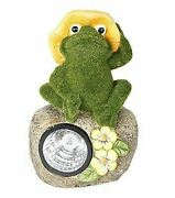 Whimsical Flocked Grass Toad Frog On Rock Garden Statue With Solar Led Light