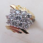 14 K Yellow Gold And Diamond Cocktail Ring With 2.5 Cts Of High Quality Diamonds
