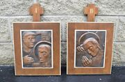 Set Of 14 Vintage Bronze Hand Embossed Stations Of The Cross + Cu1064 + Church