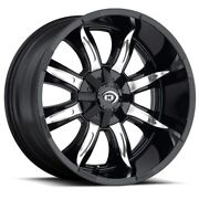 17x9 Vision 423 Manic 6x139.7 Et-12 Gloss Black Machined Face Wheels Set Of 4