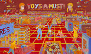 Toys A Must Original Painting Doll Circus Game Ian Young Art Deco Puzzle Car Rug