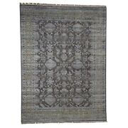 8and03910x12and039 Chocolate Brown Art Silk And Textured Wool Hand-knotted Rug R41458