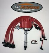 Small Block Chevy Sbc Hei Distributor Red + Spark Plug Wires Over Valve Cover