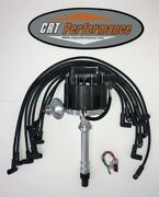 Small Block Chevy Sbc Hei Distributor Black + Spark Plug Wires Over Valve Cover