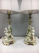 Vintage Pair Of Signed Capidimonte Italy Porcelain Table Lamps Cherubs