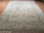 8x11 Oushak Allover-pattern Muted Vegetable Dye Handmade-knotted Wool Rug 580364