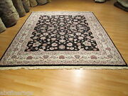 8x10 Rare Allover-pattern Black Handmade-knotted Oriental Wool Rug 580385