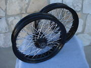 21 And 18 Black Front Rear 60 Spoke Wheel Set For Harley Softail Fxst Fxdwg