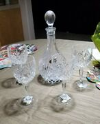 Handmade Block 24 Lead Crystal Wine Decanter W/stopper And 4 Wine Glasses