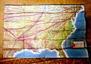 Vintage Flight Map American Airlines East West Usa Mexico C.1960