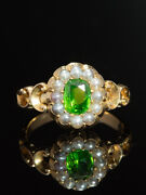 Victorian Rare Natural Demantoid Garnet And Pearls Flower Ring Horsetail Inclusion