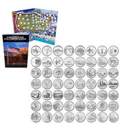 State Quarter Set Complete 56pc 1999-2009 Incl. 6 Territories And Folder Map