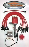 Small Cap Amc Jeep 290,304,343,360,390,401 Red Hei Distributor,60k Coil + Wires
