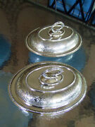 Regal James Dixon And Sons 19th Century Silver Warming Entree Trays Pair Dish Set