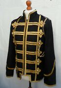 Mans Mens Real Leather Coat Jacket Military Tunic Rock Goth Steampunk Hussars
