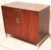 Mid-century Modern Wood Liquor Cabinet With Built-in Mini-fridge Refrigerator