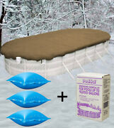 18'x34' Oval Above Ground Winter Pool Cover + 4x4 Air Pillows + Winterizing Kit