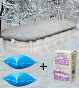 18'x34' Oval Above Ground Winter Pool Cover + 4'x4' Air Pillow + Winterizing Kit