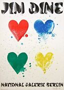 Four Hearts 1971 Exhibition Poster On Arches Paper Jim Dine - Signed