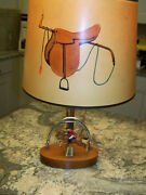 Hunt Country Riding Themed Desk / End Table Lamp Nice Antique - Finethings4sale